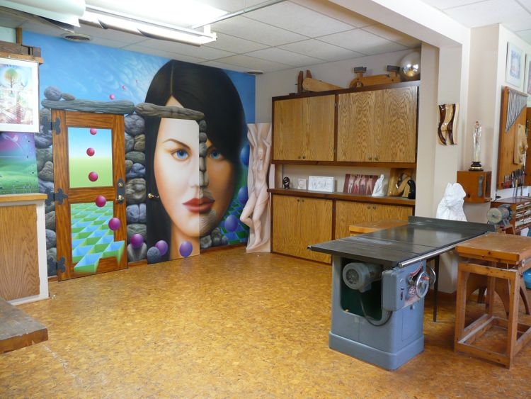 Thomas Haney's Studio looking towards mural on doors