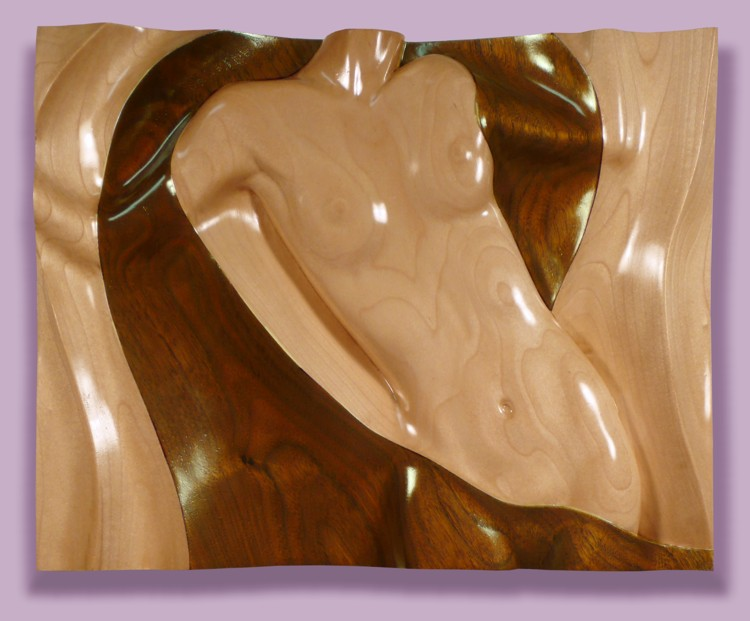 Thomas Haney's Intarsia Torso Front Dancing sculpture in poplar and walnut