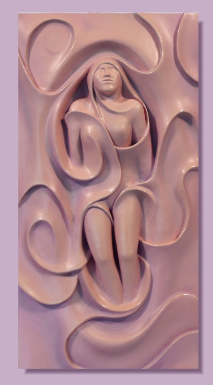 Swirly Sue sculpture by Thomas Haney relief carved mixed media of female fiugre in surrealistic swirrls